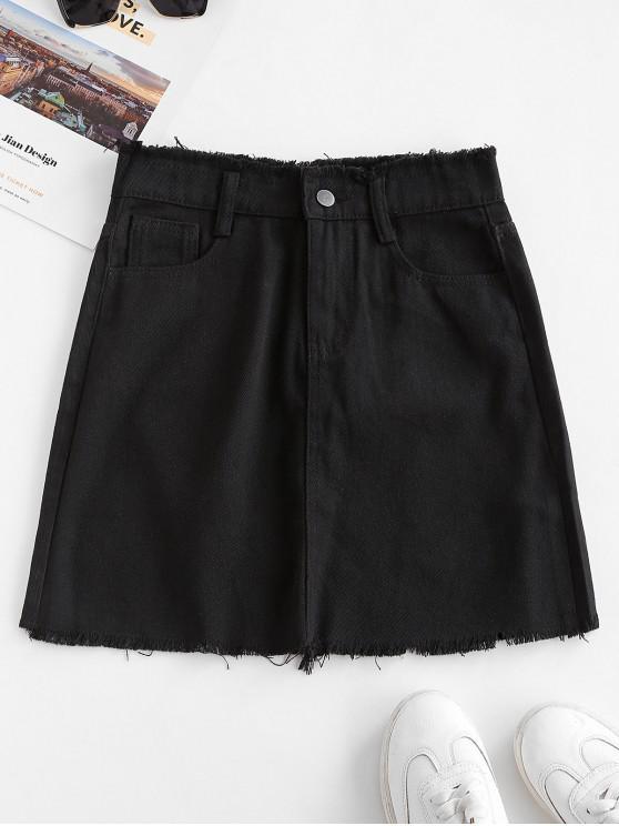 trendy Frayed Pocket Mini Denim Skirt - BLACK XL