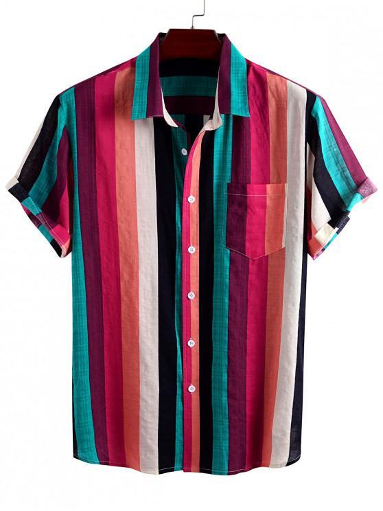 Camisa Diseño Impreso Rayas Coloridas Bolsillo - Rojo M