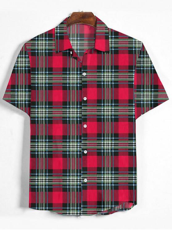 Plaid Print Button Down Shirt - الحمم الحمراء XL