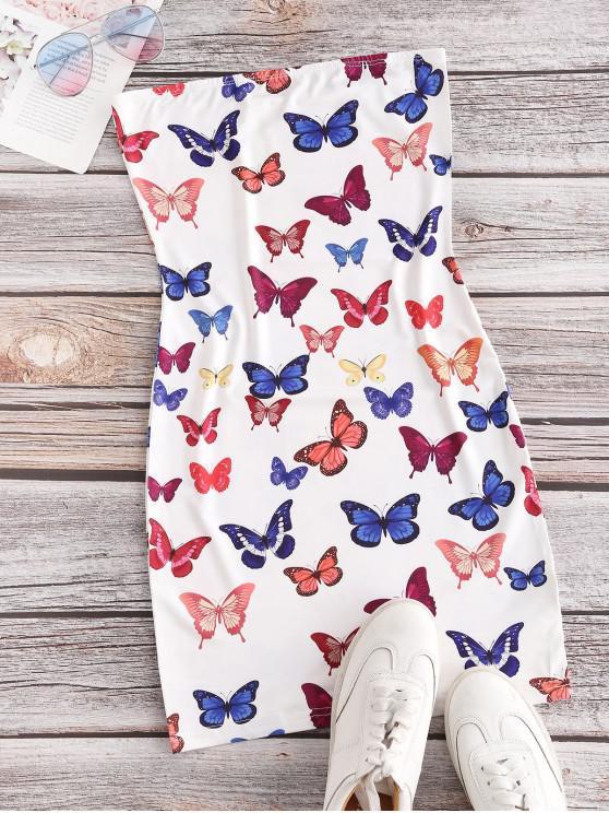 best Bodycon Butterfly Print Bandeau Dress - WHITE L