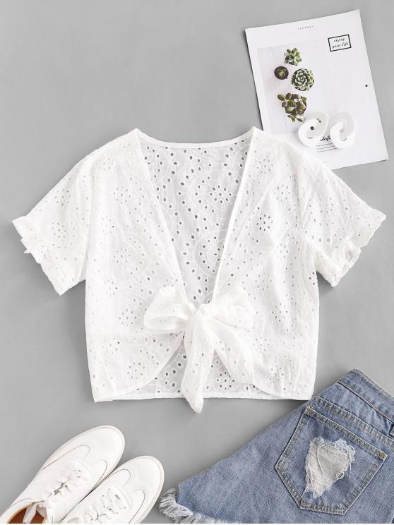 Öse Rüschen Gebundene Bluse - Weiß L