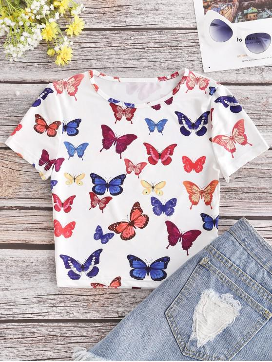 women Colored Butterfly Print Crop Tee - WHITE L