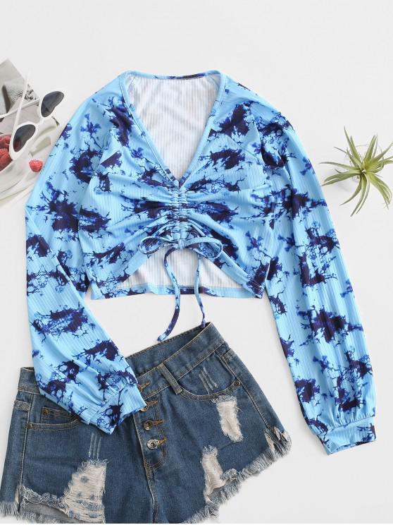 outfit ZAFUL Tie Dye Cinched Tie Raglan Sleeve Tee - BLUE L