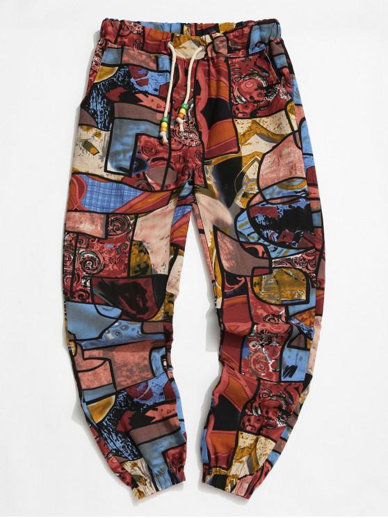 Tribal Graffiti Print Elastic Waist Jogger Pants - متعددة-B L
