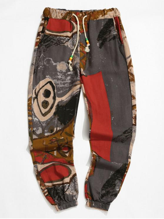 Pantalones Jogger con Cintura Elástica y Estampado Tribal - Multicolor-E XL