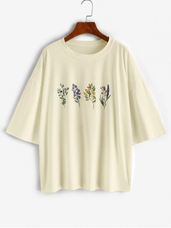 online Floral Print Drop Shoulder Oversized Boyfriend Tee - LIGHT YELLOW M