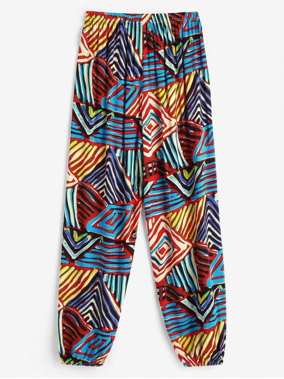 Pantalones Jogger Cintura Alta Estampado Colorido - Rojo S