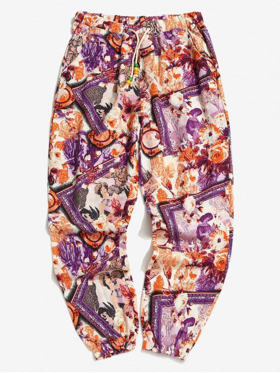 buy Flower Feather Tribal Print Drawstring Jogger Pants - MULTI-B XL