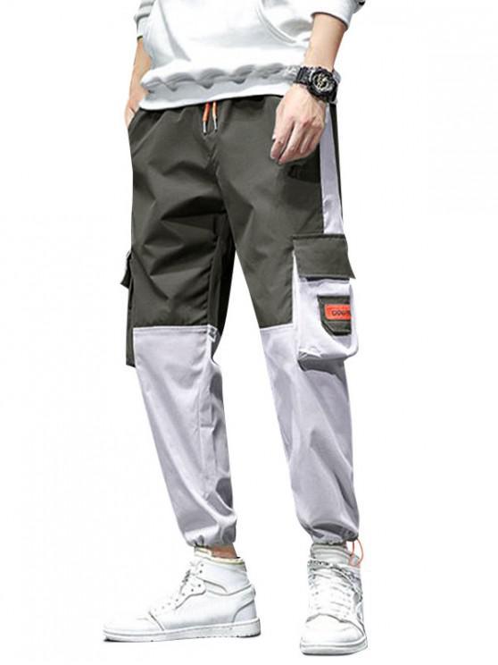 sale Colorblock Panel Flap Pocket Cargo Jogger Pants - ARMY GREEN XL