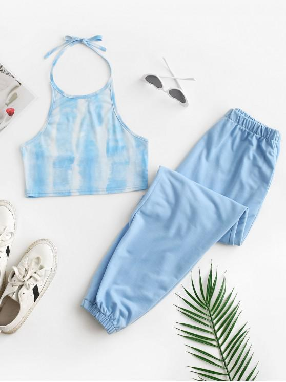 womens Tie Dye Halter Crop Top and Jogger Pants Set - LIGHT BLUE XL