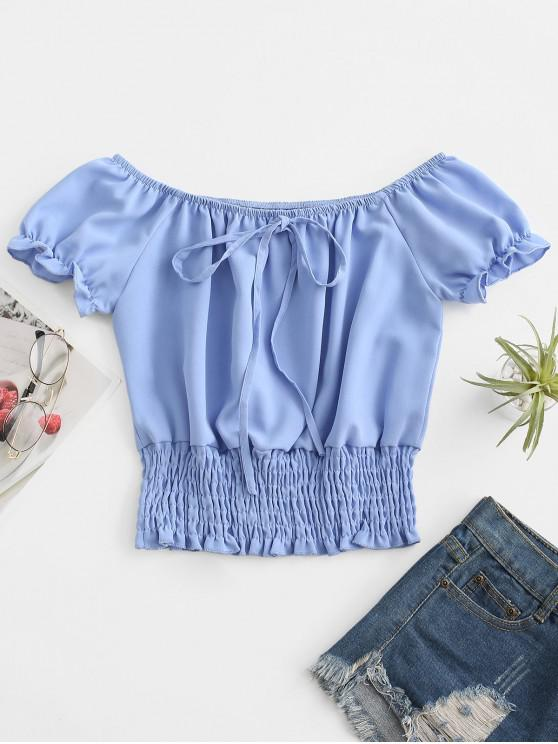 ladies ZAFUL Puff Sleeve Smocked Tie Frilled Blouse - LIGHT BLUE L