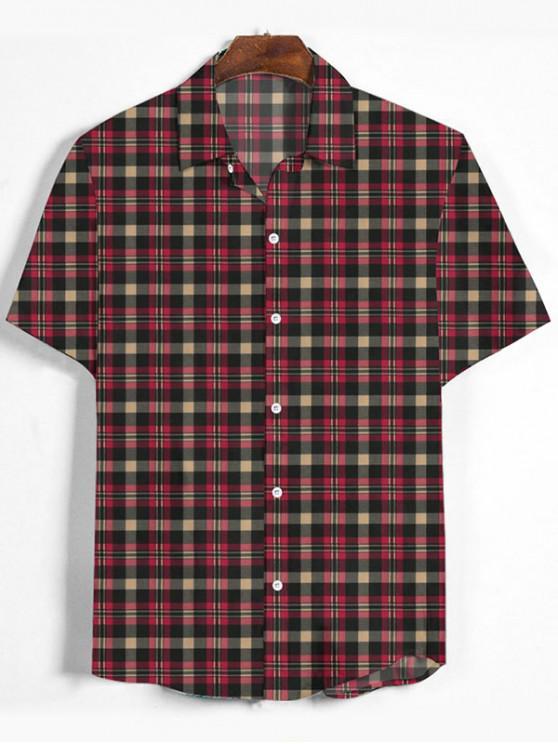 women Plaid Printed Button Down Shirt - CHERRY RED L