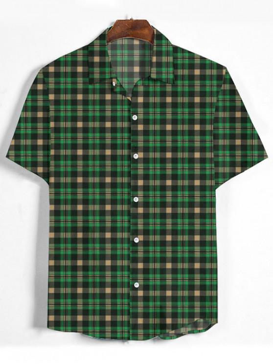 new Plaid Printed Button Down Shirt - MEDIUM FOREST GREEN XL