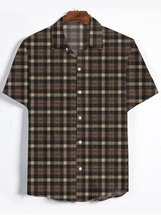 shops Plaid Printed Button Down Shirt - BROWN BEAR XL