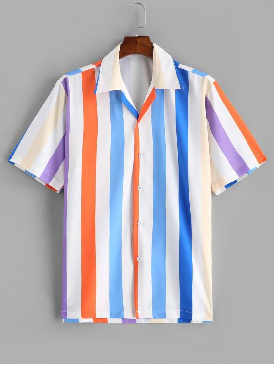 shop Colorful Striped Printed Short Sleeves Shirt - BLUE 2XL