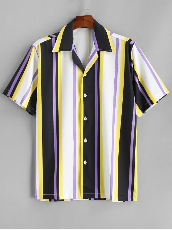 best Striped Colorful Printed Short Sleeves Shirt - YELLOW XL
