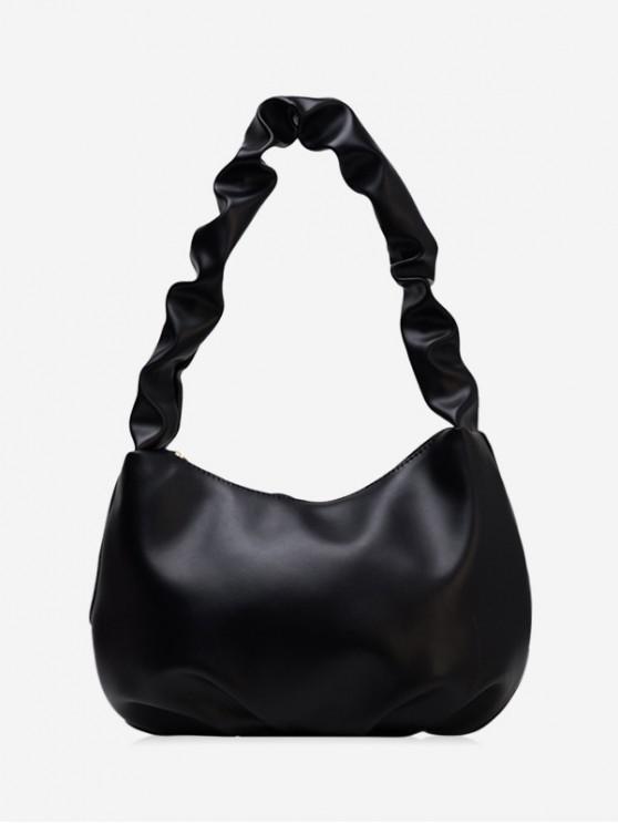 fancy Wrinkle Handle Leather One Shoulder Bag - BLACK