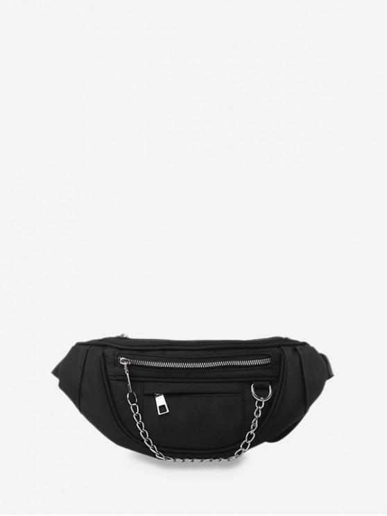 women's Chain Zipper Crossbody Chest Bag - BLACK