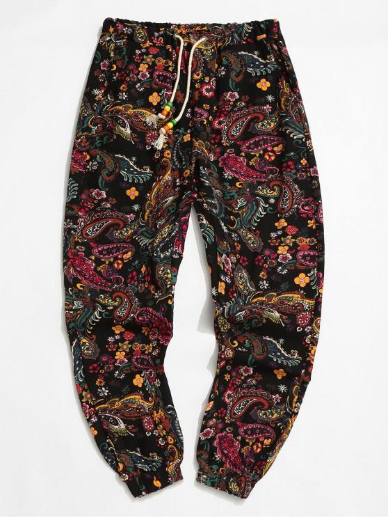 Stammes Blume Paisleydruck Elastische Taillen Jogger Hosen - Schwarz XL