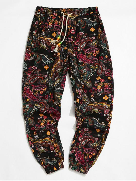 Tribal Flower Paisley Print Elastic Waist Jogger Pants - أسود XS