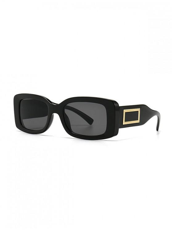 lady Rectangle Decorative Anti UV Sunglasses - BLACK