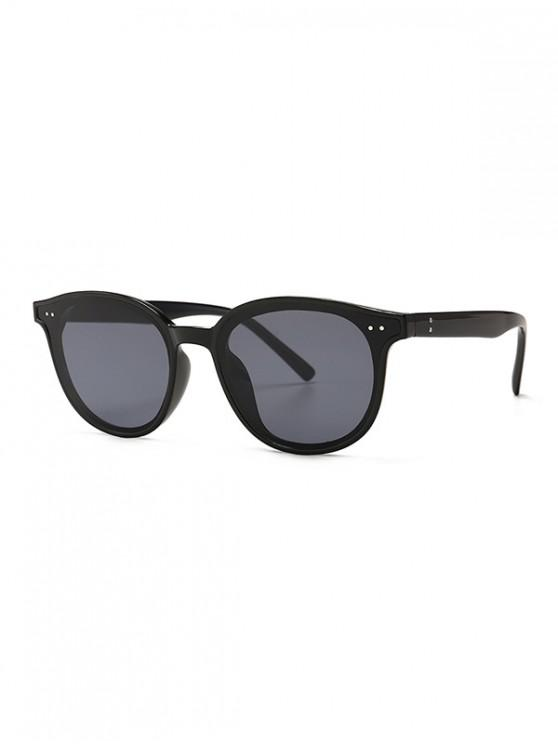 ladies Classic Rivet Round Sunglasses - BLACK