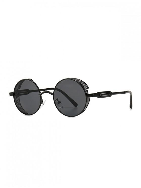 Hollow Out Frame Round Sunglasses - أسود