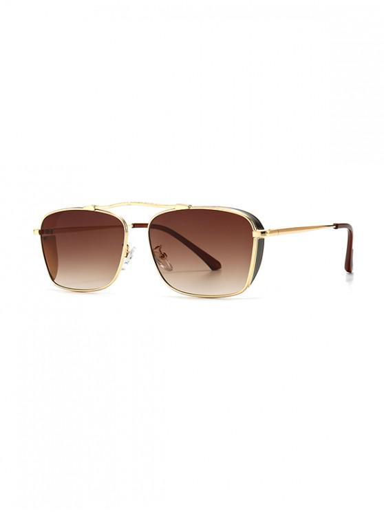 online Metal Rectangle Wind Proof Sunglasses - BROWN