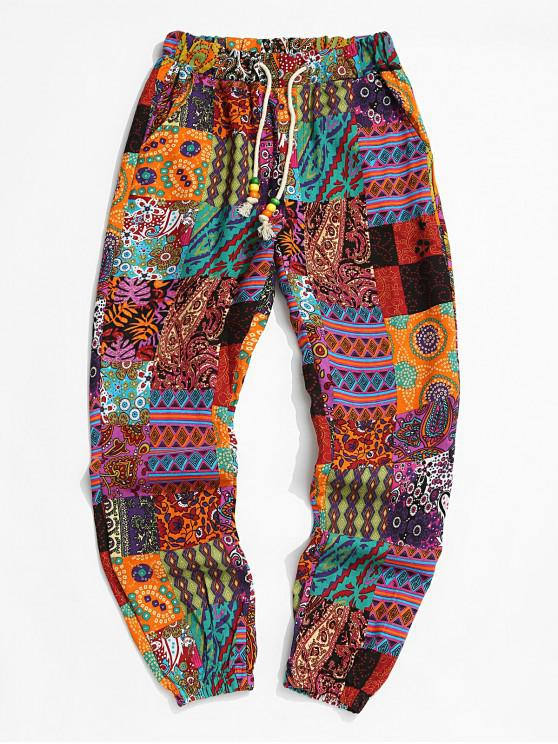 ladies Tribal Paisley Print Elastic Waist Jogger Pants - BRIGHT ORANGE XL