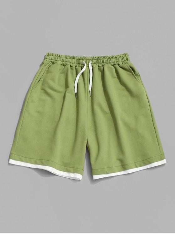 Drawstring Contrast Layered Sweat Shorts - سلطة خضراء XL