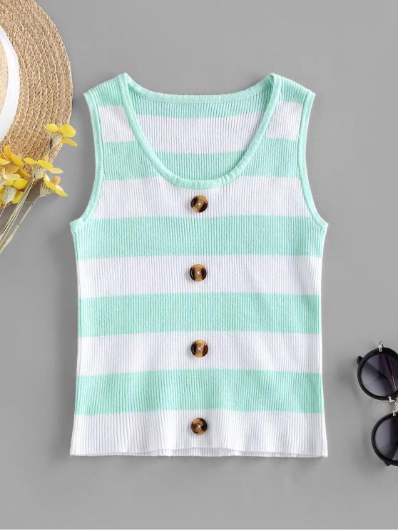 trendy ZAFUL Knitted Striped Mock Button Tank Top - GREEN XL