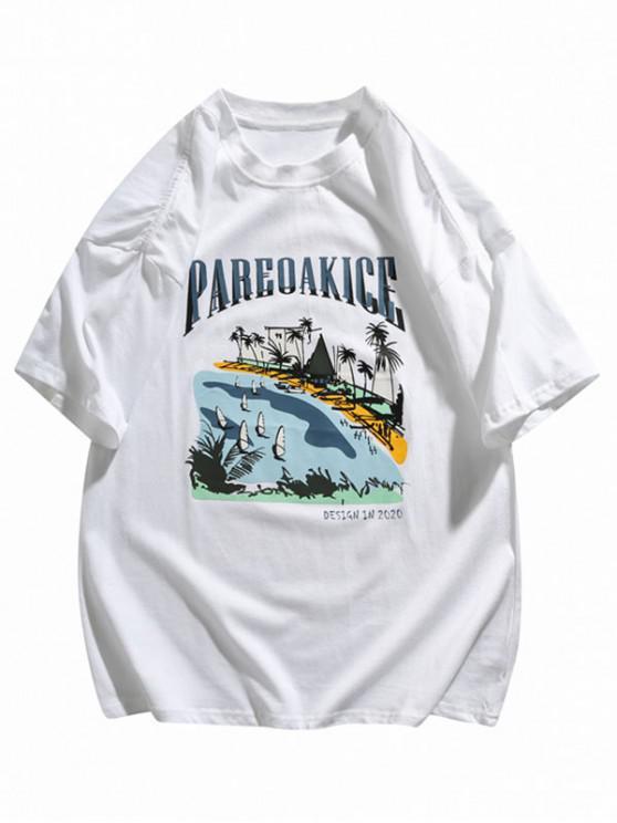 latest Hawaii Beachside Print Basic T-shirt - WHITE 2XL