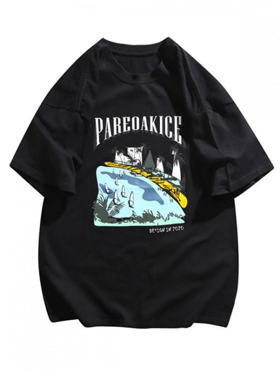 Hawaii Beachside Print Basic T-shirt - أسود 2XL