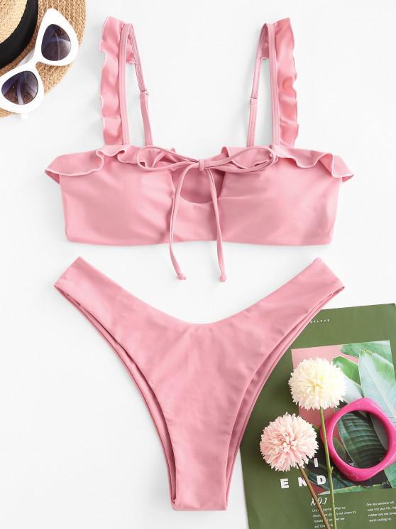 shops ZAFUL Ruffle Tie High Cut Bikini Swimwear - LIGHT PINK M