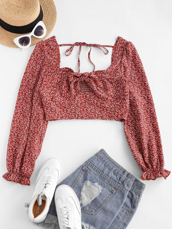 ZAFUL Bluse mit Ditsydruck und Schulterbindung - Rot M