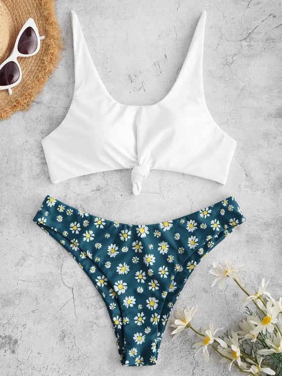 buy ZAFUL Daisy Print Knot Bikini Swimsuit - DEEP BLUE L