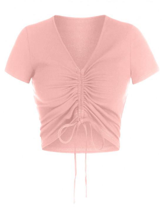 best ZAFUL Cinched V Neck Crop T Shirt - LIGHT PINK L