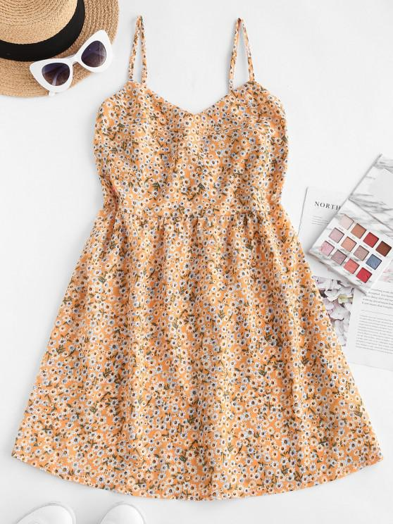 chic ZAFUL Ditsy Floral A Line Cami Sundress - YELLOW XL