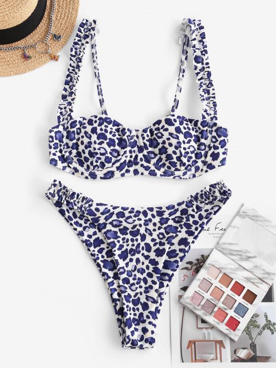 shops ZAFUL Ribbed Leopard Frilled Underwire Balconette Bikini Swimwear - BLUE S
