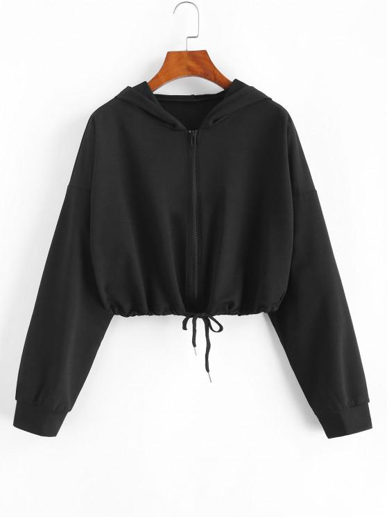 women Drawstring Hem Zip Up Cropped Hoodie - BLACK S