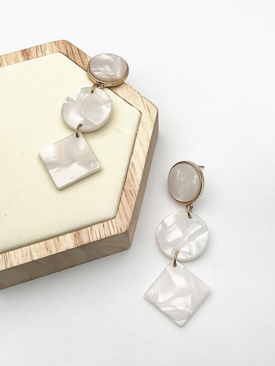 trendy Faux Gemstone Geometric Shape Drop Earrings - GOLDEN