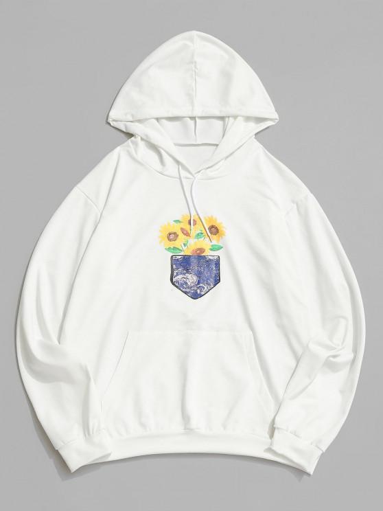 ladies Sunflower Galaxy Print Pouch Pocket Hoodie - WHITE 2XL
