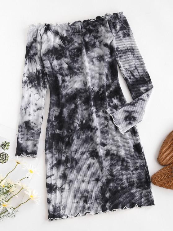 hot Tie Dye Lettuce-trim Ribbed Off The Shoulder Dress - GRAY L