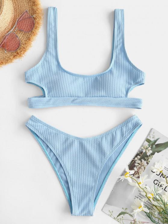 womens ZAFUL Textured Cutout High Cut Bikini Swimsuit - LIGHT BLUE S