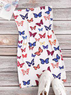 Robe Bandeau Moulante Papillon Imprimé - Blanc S