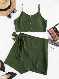 Robe Superposée Boutonnée Nouée Deux Pièces - Vert Profond L