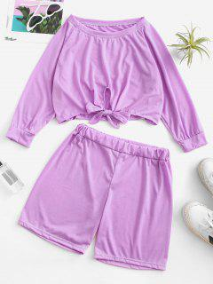 Raglan Sleeve Tie Hem Cropped Two Piece Set - Light Purple L