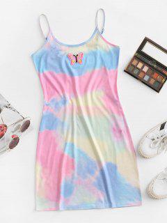 ZAFUL Tie Dye Butterfly Applique Bodycon Cami Dress - Light Pink L