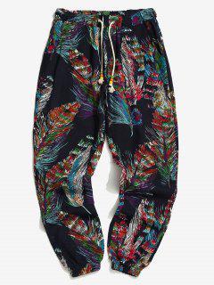 Flower Feather Tribal Print Drawstring Jogger Pants - Midnight Blue Xs