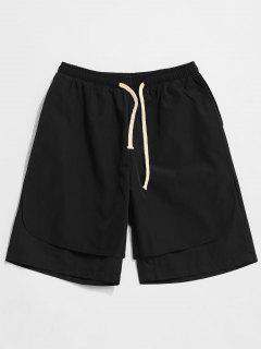 Drawstring Layered Casual Shorts - Black M
